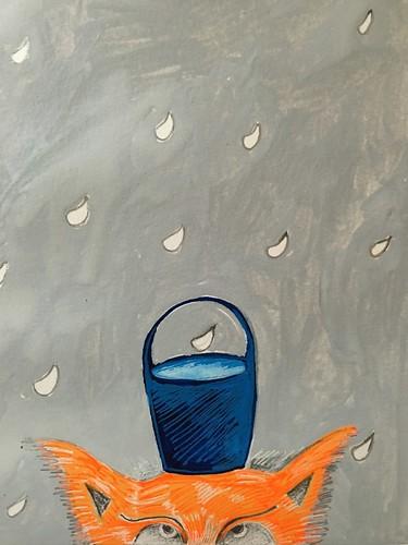 Balancing the blue bucket.