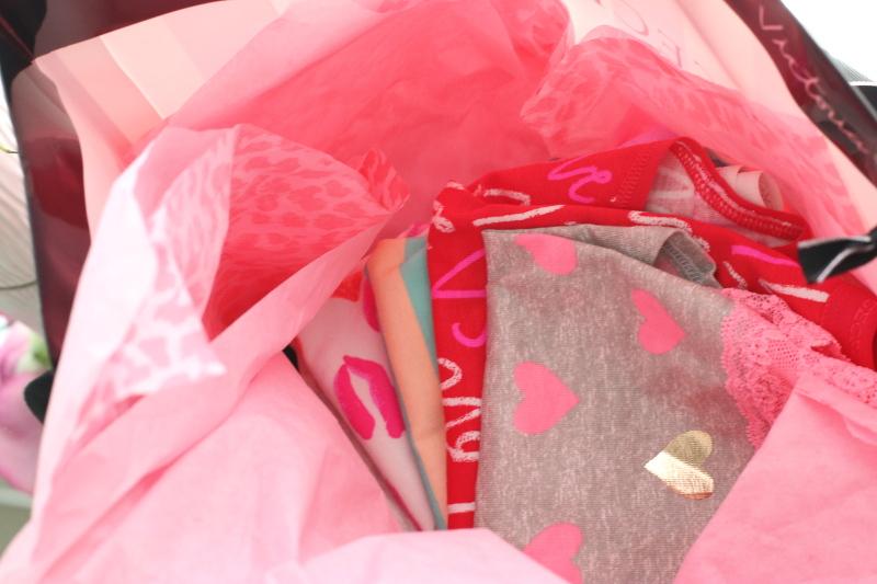 victorias secret, valentines design, underwear, hearts, pink, red