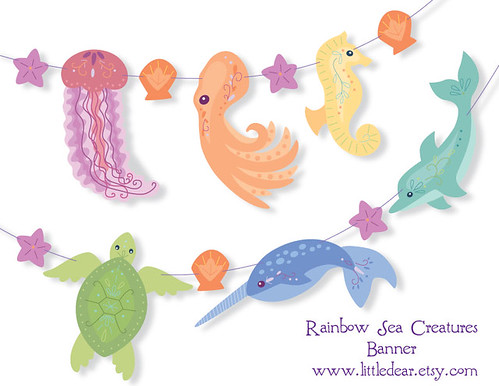 printable sea creatures banner