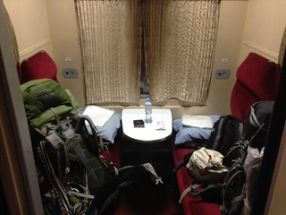 Our private 1st class compartment for the overnight trip to Zugdidi