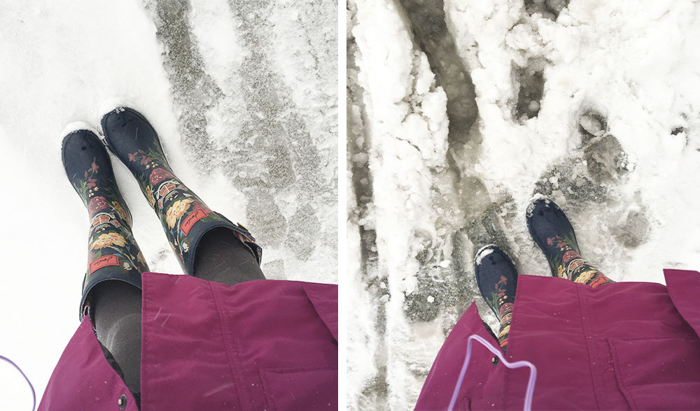 Joules rain boots wellies in slush and snow