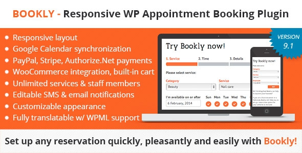 Bookly v9.1.1 - Responsive Appointment Booking and Scheduling Plugin
