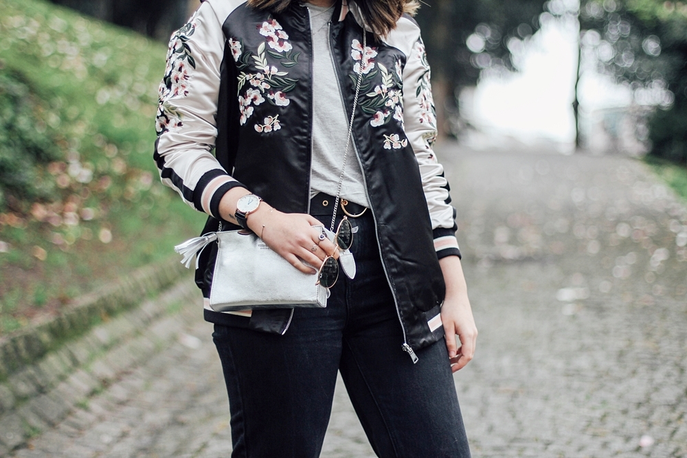 Reversible bomber jacket with embroidery detail