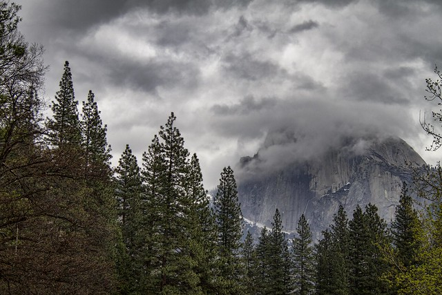 Half Dome in clouds