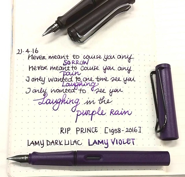 Another icon turned legend. RIP Purple Prince #purplerain #ripprince #lamydarklilac #lamyviolet #tribute #Fpgeeks #FPN #fountainpennetwork #lamycollection #Lamy #funtainpen #fountainpen #purple #lyrics #rain