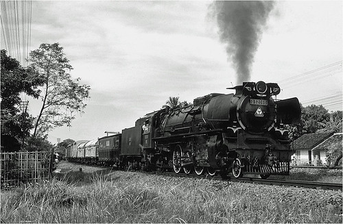 railroad blackandwhite monochrome train indonesia java asia transport engine rail railway steam transportation locomotive freight cirebon krupp oilburner 282 d52