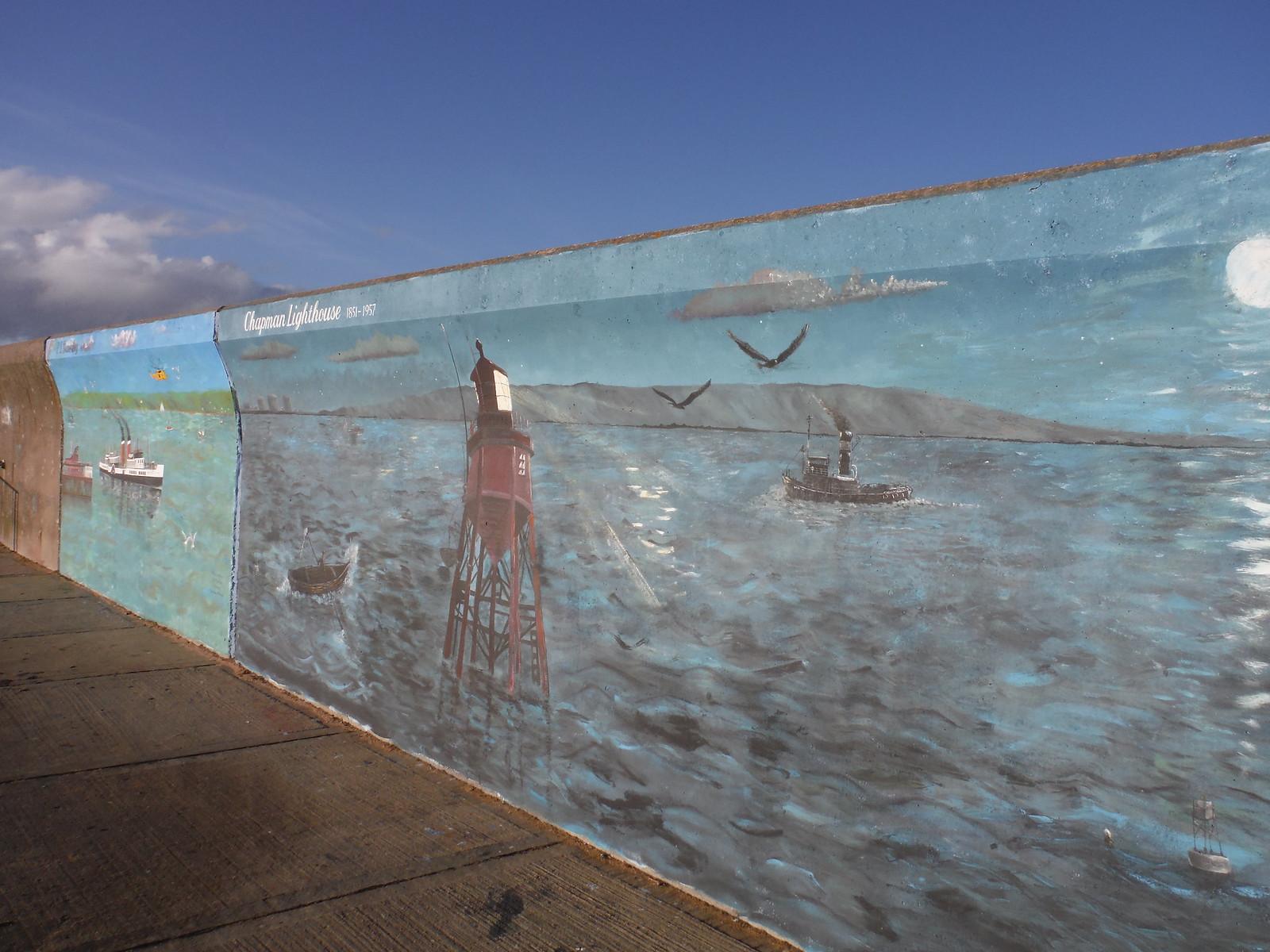 Chapman Lighthouse and MS Waverley murals, riverfront, Canvey Island SWC Walk 258 Benfleet Circular (via Canvey Island)