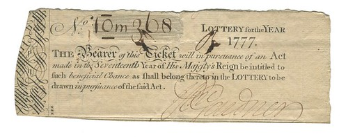 1777 Loyalist lottery ticket