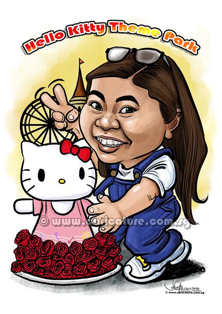 Charlene Hello Kitty theme park digital caricature for PropertyGuru (watermarked)