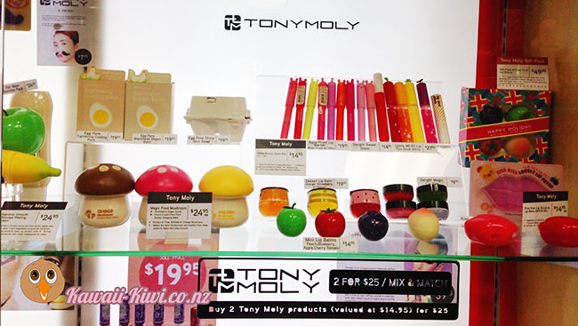 More cute lip balms, glosses hand-creams and skincare products by TonyMoly at Cosmic in Wellington