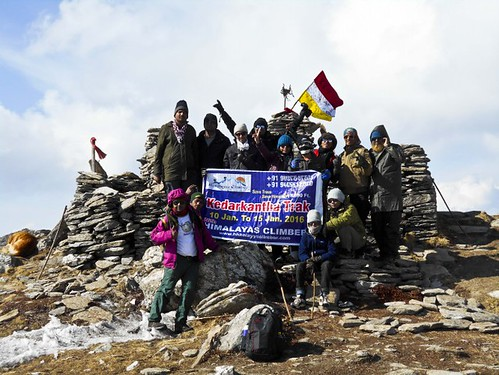 Team - During Kedarkantha Summit 2016 in Winter , Uttrakhand, India