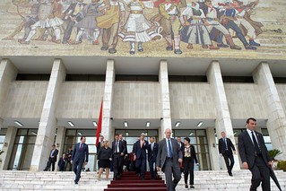 Secretary Kerry Walks With The U.S. Ambassador To Albania, As They Depart The National Museum Of Tirana, Albania