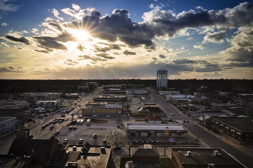 Notley Hawkins Photography, Downtown Columbia Missouri, Skyline, architecture, sunburst, clouds and sky