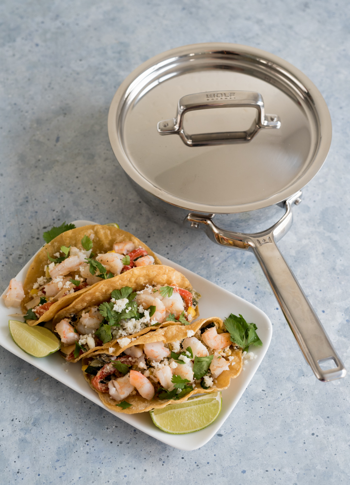 Roasted Pepper, Zucchini and Corn Rajas Shrimp Tacos www.pineappleandcoconut.com #WolfGourmet