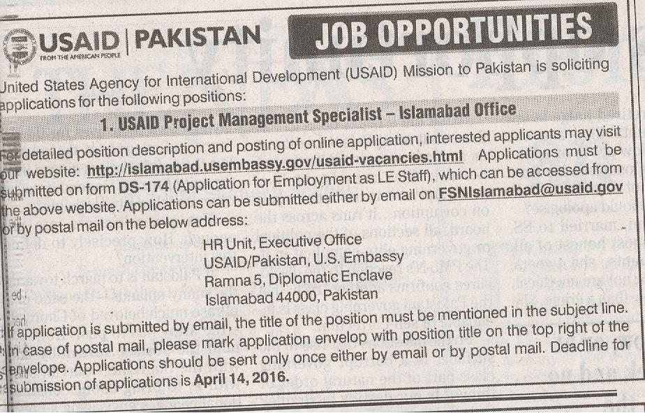 USAID Project Management Specialist Jobs 2016