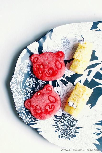 Panda shape watermelon top view