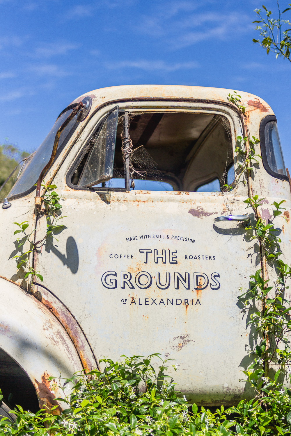 the grounds of alexandria truck sign outside