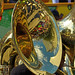 Mardi Gras captured in the bell of a tuba by Monceau