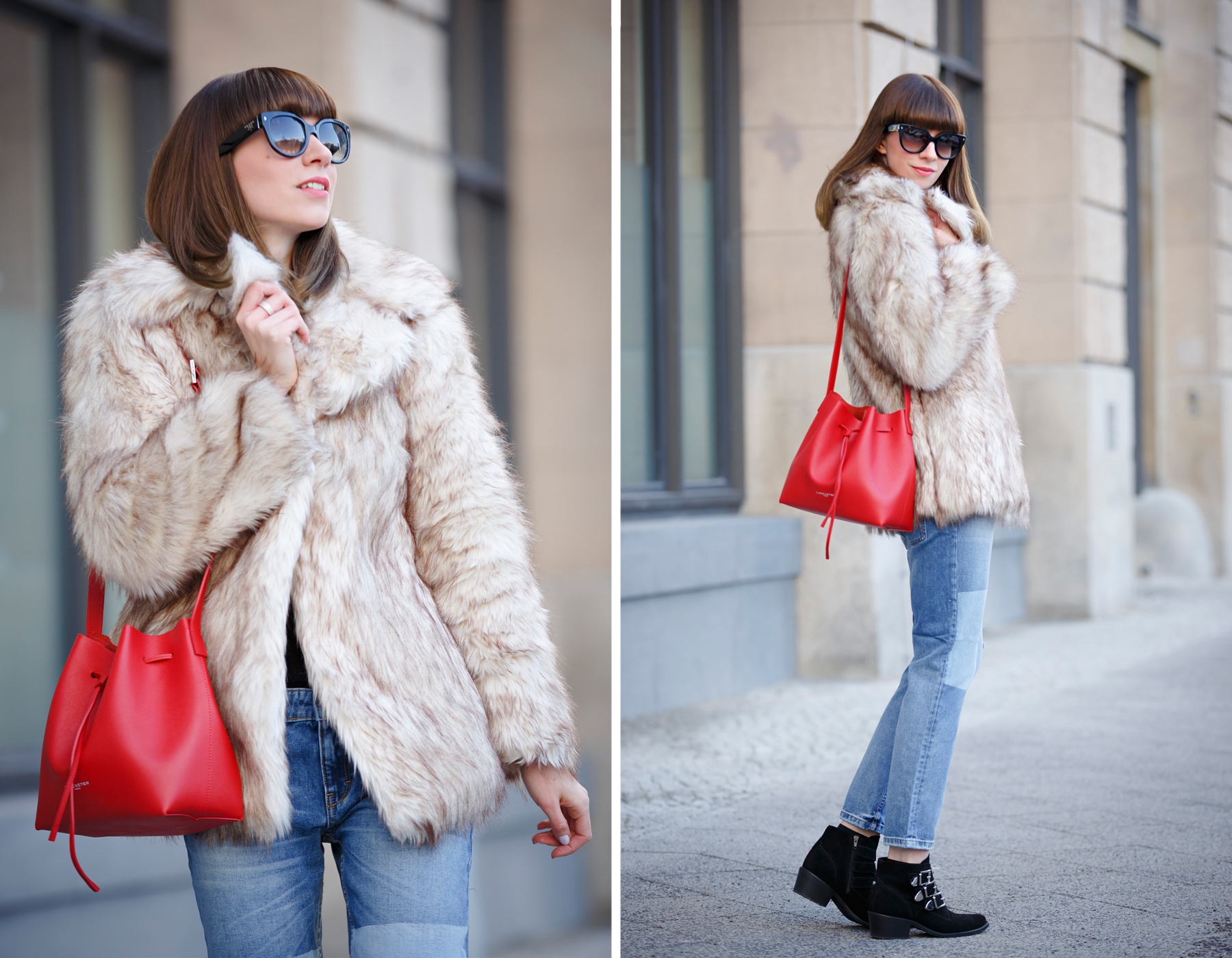 lancaster paris red bucket bag mansur gavriel lookalike patch boyfriend jeans mango fake fur coat asos black sacha booties ankle boots chloe suzanna prada sunglasses luxury style blogger cats & dogs blog ricarda schernus 5