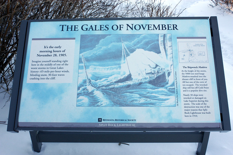 Sign detailing the Gales of November and the wreck of the Madeira