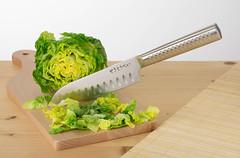 Santoku Knife Cutting Baby Romaine Lettuce
