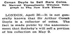 Arthur Conan Doyle Christie's sale NYT May 1, 1913