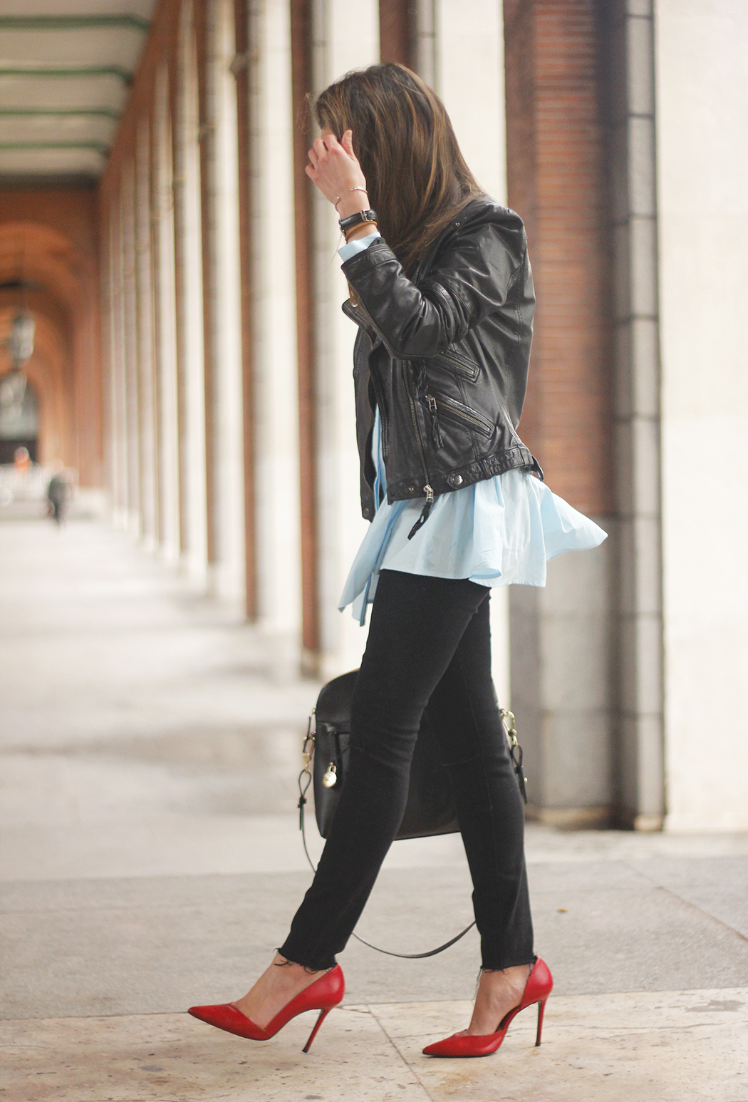 black leather biker black ripped jeans blue shirt outfit streetstyle04