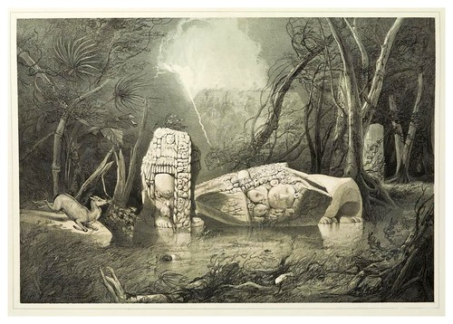 002-Estatua rota de idolo en Copan-Views of ancient monuments in Central America…1844- F. Catherwood