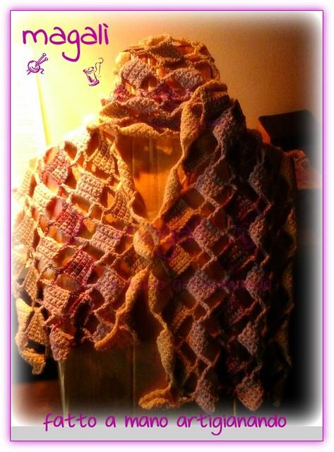 sciarpa quadratini pieni e vuoti panna beige lilla (7)