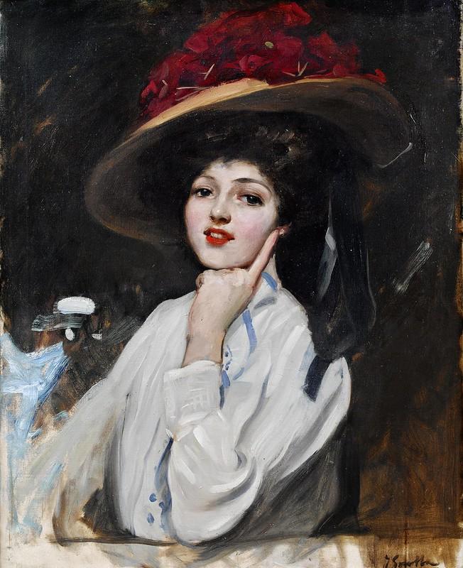 Joaquin Sorolla y Bastida - Retrato de una joven en un sombrero, cree que Raquel Meller