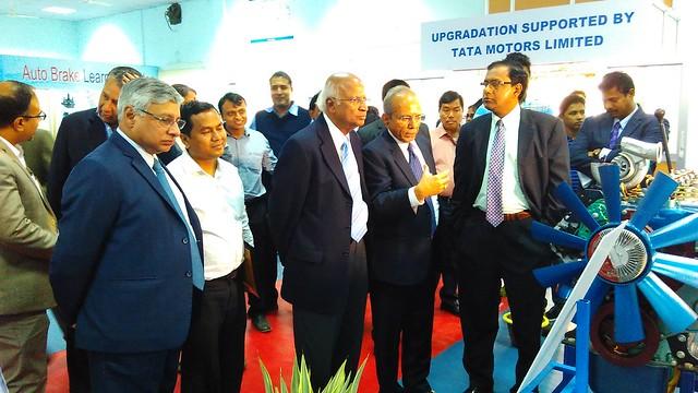 2 ITI Agartala Inauguration, Mr. S.P.Joshi, Consultant Tata Motors explaining the working of the equipment to Mr. S. Ramadorai, Chairman NSDA and NSDC and Mr. M. Nagaraju, and Mr. Ravi Pisharody