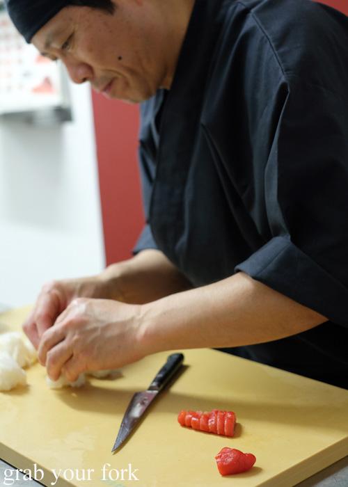 Chef Shinji Matsui slicing cod roe at Sashimi Shinsengumi, Crows Nest