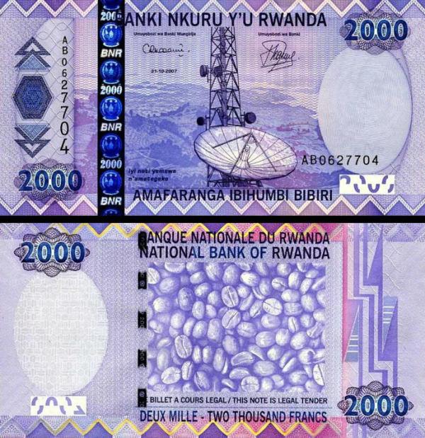 2000 Frankov Rwanda 2007, P36 UNC