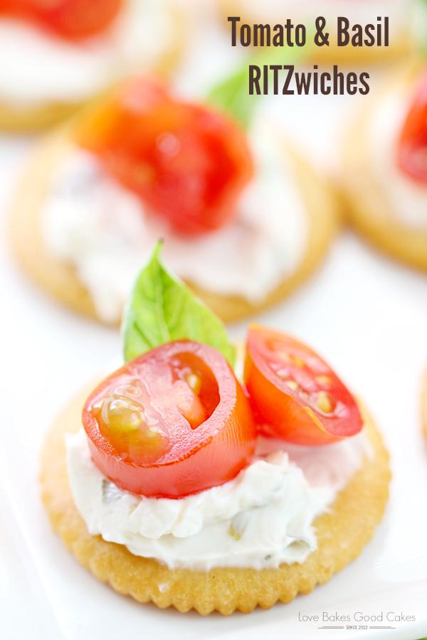 Tomato & Basil RITZwiches on a white plate.