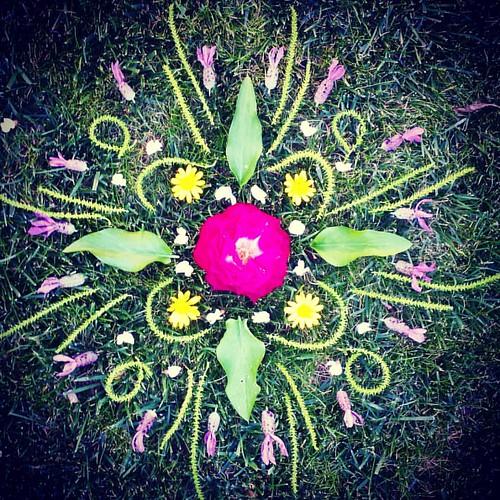 Garden Mandala No. 44 #spring #gardening #flowers #mandala #flowerstagram #landart #gardenartflowers #gardenart #waldorfhome #ephemeral #roses #lavender