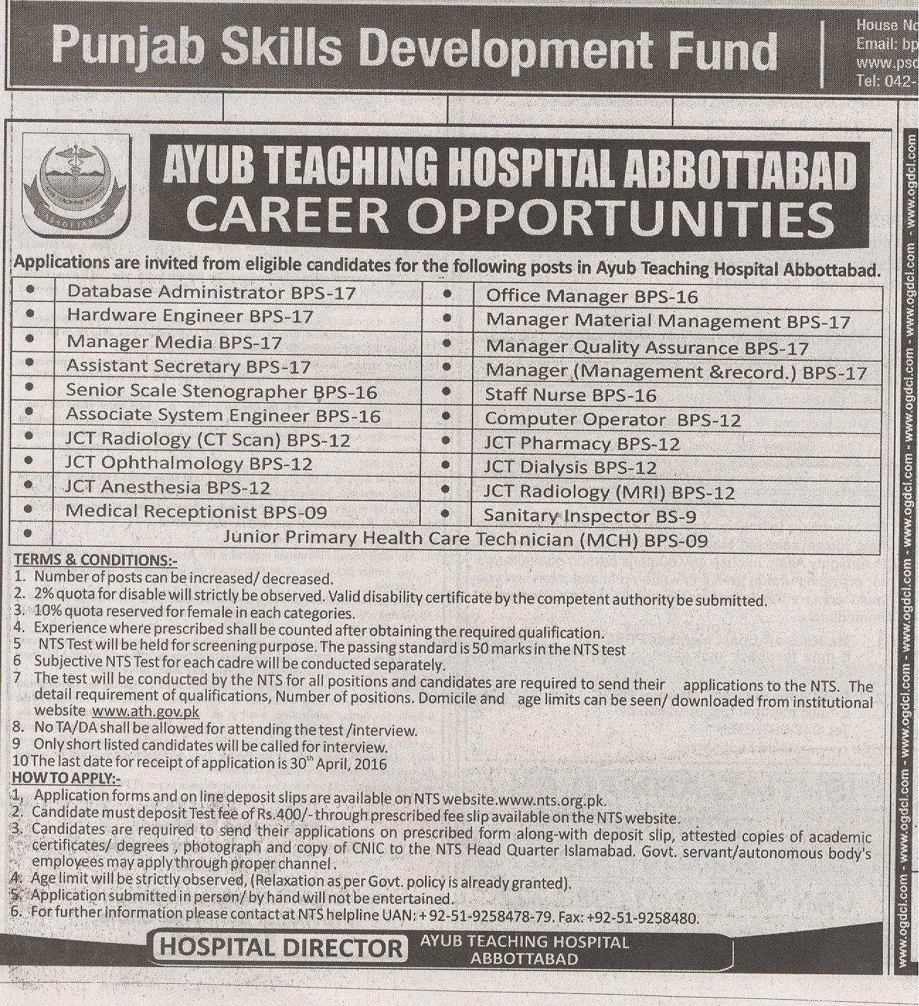 AYUB TEACHING HOSPITAL Jobs 2016