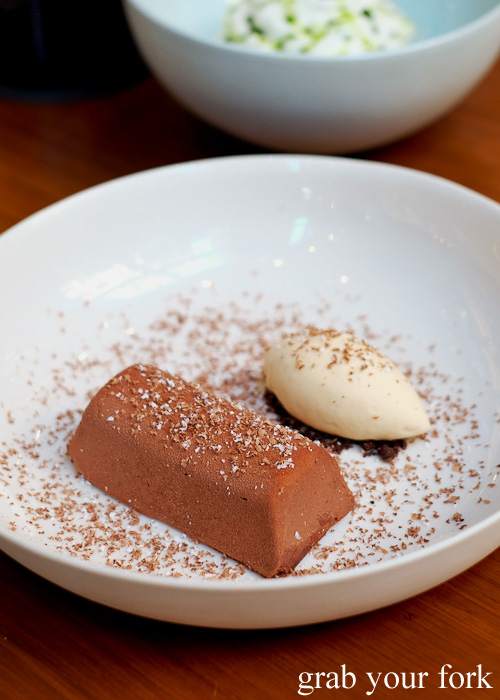 Chocolate and peanut butter with caramel and banana ice cream dessert at Kensington Street Social in Chippendale