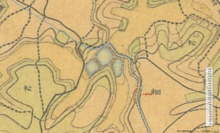 桜川を渡る古代東海道 小松貝塚 迅速測図 アップ