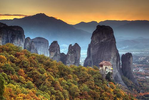 autumn sunset greece grecia griechenland grece meteora thessaly ελλάδα θεσσαλία μετέωρα
