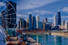 Ferris wheel and Chicago's skyline.
