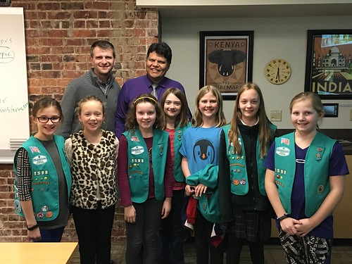 January: Girl Scout Troop 1598 learns about Brazil from Marcio Bahia and Patrick Murphy