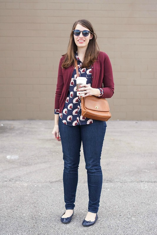 Loft utility shirt + berry cardigan + jeans + casual weekend look