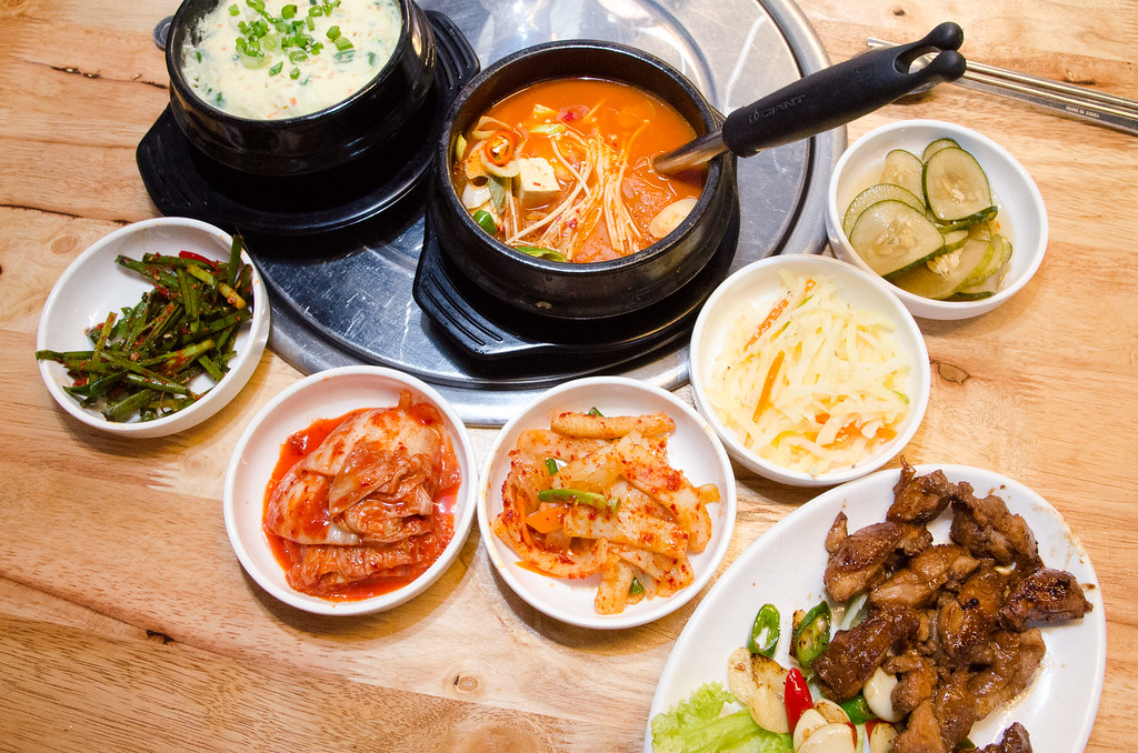 Sae Ma Eul Korean BBQ Set Lunch with BBQ Chicken, Kimchi Stew and Steam Egg