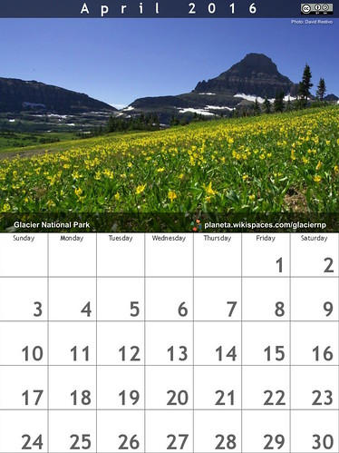 April 2016 Calendar: Glacier National Park @GlacierNPS #findyourpark