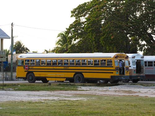 """Orange Walk: les vieux """"school bus"""" américains, les seuls transports publics du Belize"""