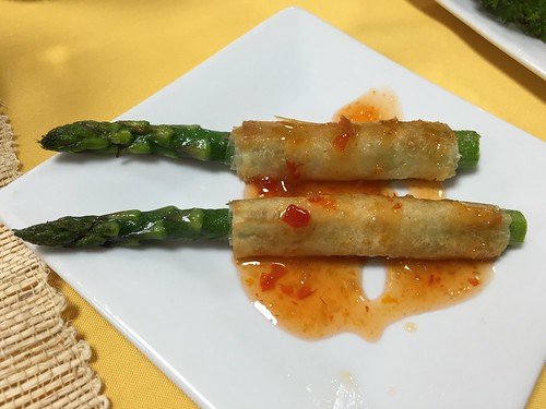 Asparagras, phyllo wrapped (passed hors d'oeuvre presentation served in clear mini cups with Thai sweet chili sauce)