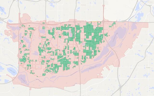 Map of city blocks in Bloomington