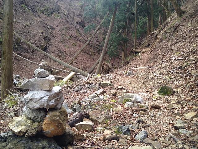 御池岳 コグルミ谷 登山道 ケルン
