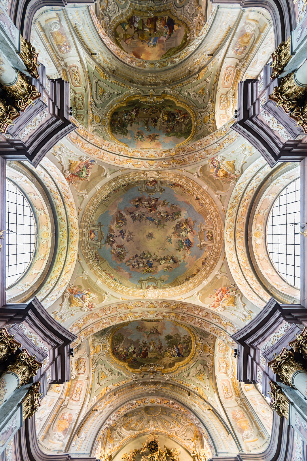Ceiling frescos in Herzogenburg Abbey Church (Lower Austria) by Daniel Gran (left fresco) and Bartolomeo Altomonte. Credit Uoaei1