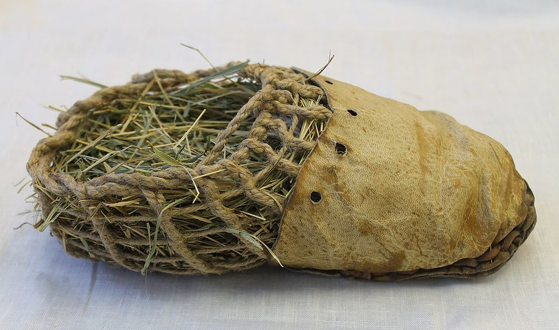 Replica of shoes of Ötzi, a well-preserved natural mummy of a man who lived around 3,300 BCE